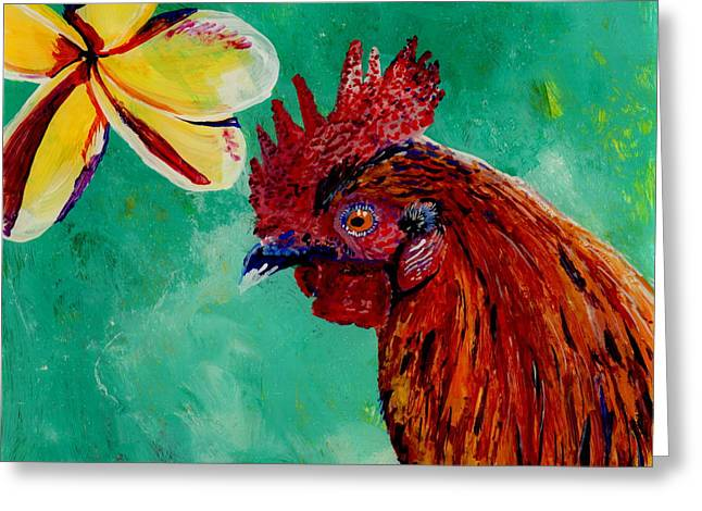 Rooster And Plumeria Greeting Card