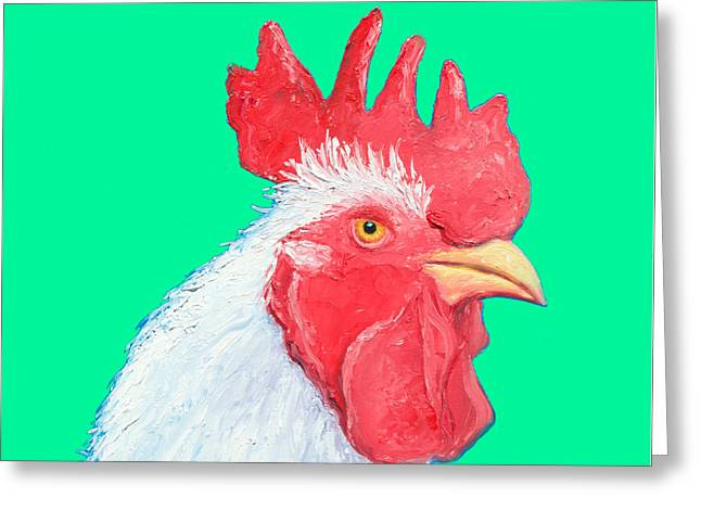 Rooster Art On Green Background Greeting Card by Jan Matson