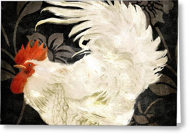 Rooster Damask Dark Greeting Card by Mindy Sommers