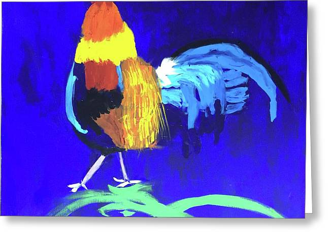Greeting Card featuring the painting Rooster by Donald J Ryker III