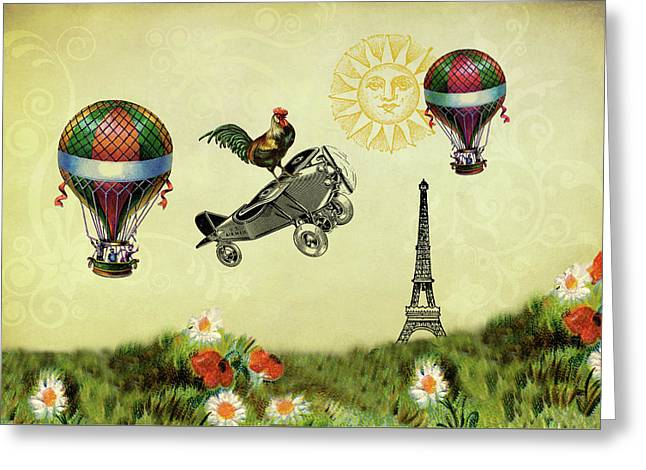 Rooster Flying High Greeting Card
