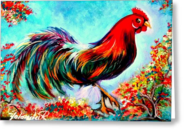 Rooster/gallito Greeting Card by Yolanda Rodriguez