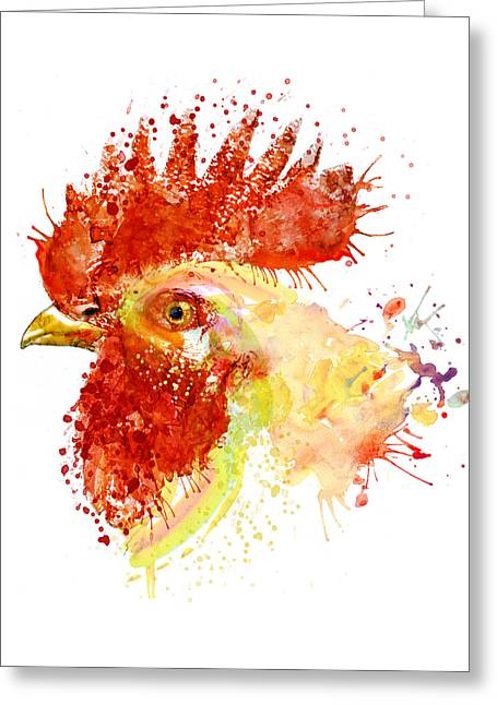 Rooster Head Greeting Card by Marian Voicu