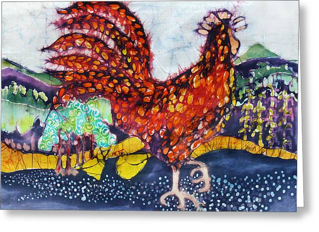 Mountain Tapestries - Textiles Greeting Cards - Rooster in the Morning Greeting Card by Carol  Law Conklin