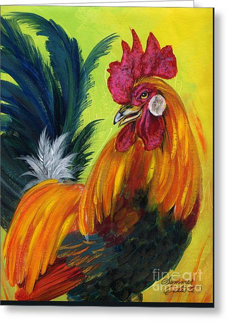 Rooster Kary Greeting Card by Summer Celeste
