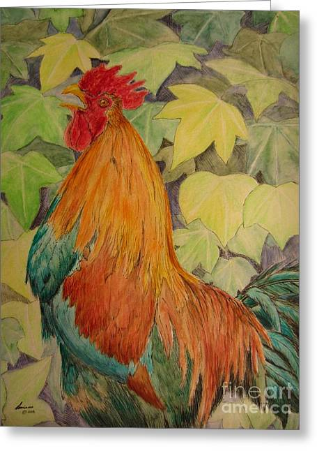 Rooster Greeting Card by Laurianna Taylor