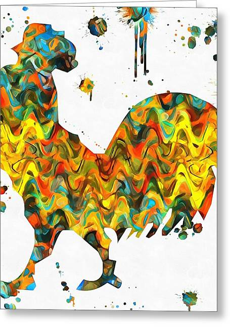 Rooster Paint Splatter Greeting Card by Dan Sproul