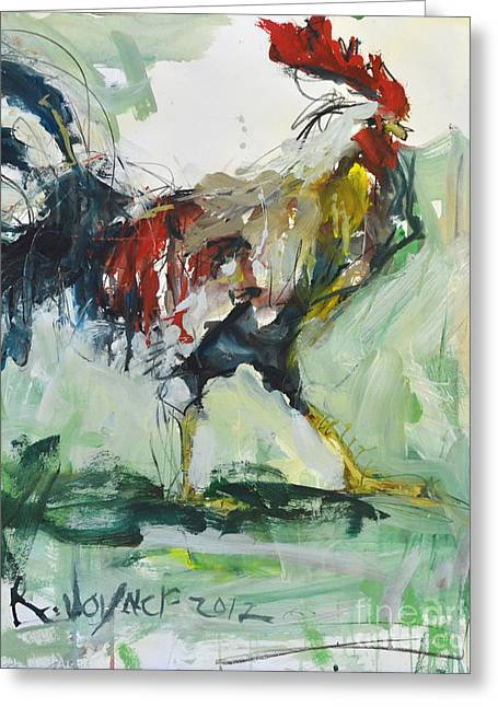 Rooster Painting Greeting Card by Robert Joyner