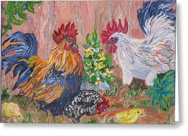 Rooster Ranch Greeting Card by Mikki Alhart