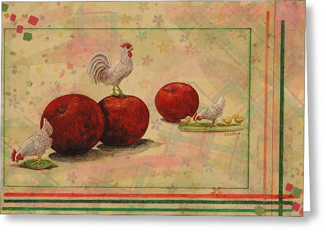 Rooster Greeting Card by Sandy Clift