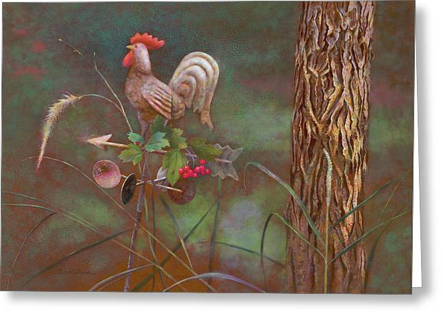 Rooster Weather Vane In Garden Greeting Card