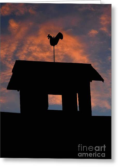 Rooster Weather Vane Silhouette Greeting Card by Henry Kowalski