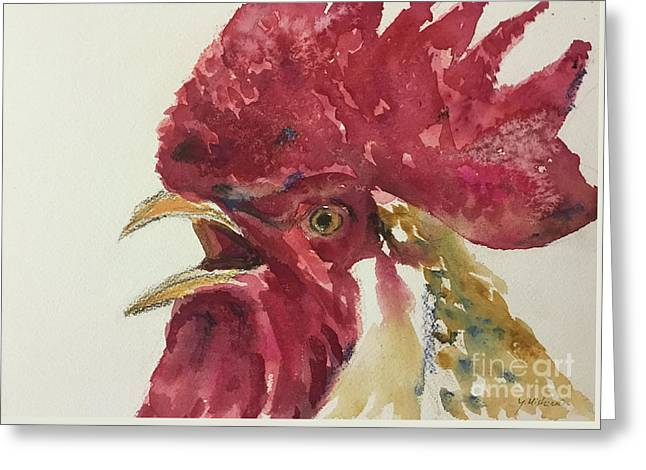 Rooster Greeting Card by Yoshiko Mishina