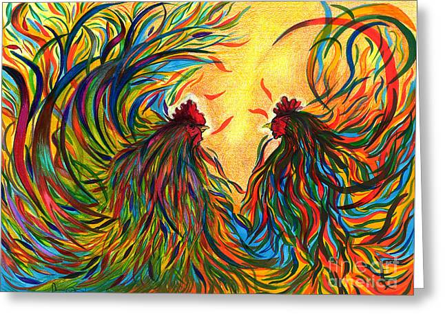 Roosters Frienship Greeting Card by Fanny Diaz
