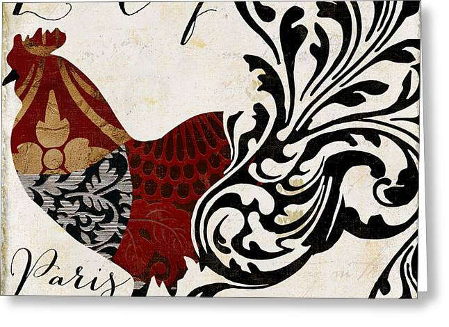Roosters Of Paris I Greeting Card by Mindy Sommers