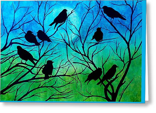 Roosting Birds Greeting Card by Susan DeLain
