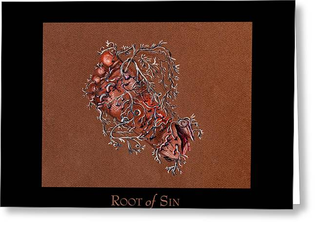 Destiny Pastels Greeting Cards - Root of Sin Greeting Card by Lisa  Albinus
