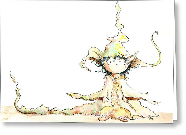 Root Wizard Girl Greeting Card by Victoria Miller