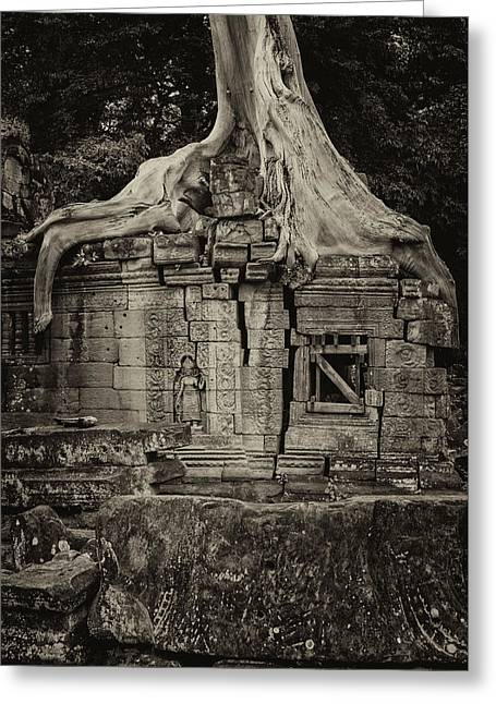 Greeting Card featuring the photograph Roots In Ruins 5, Ta Prohm, 2014 by Hitendra SINKAR