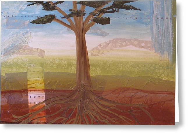 Tree Roots Mixed Media Greeting Cards - Roots Greeting Card by Jennifer Anderson