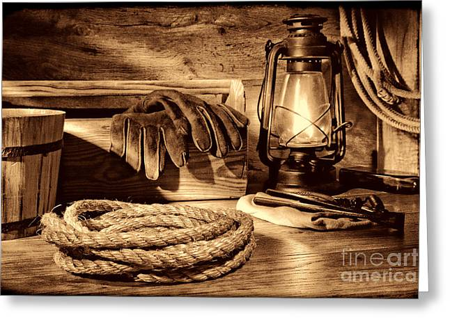 Rope And Tools In A Barn Greeting Card