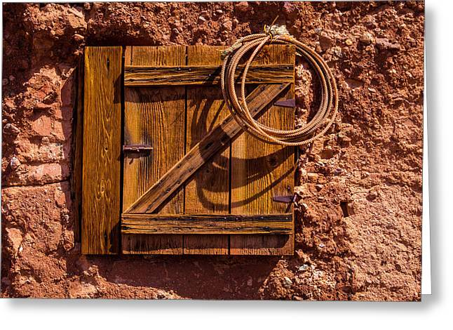 Rope Hanging On Small Door Greeting Card by Garry Gay