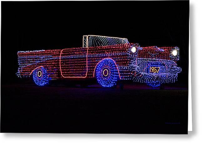 Rope Light Art 1957 Chevy Greeting Card by Thomas Woolworth