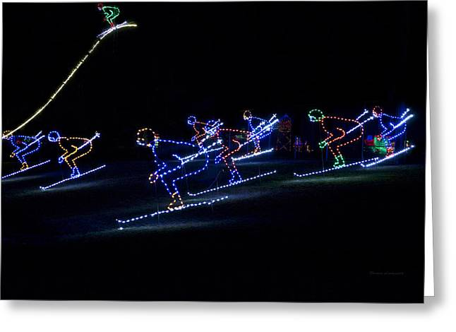 Rope Light Art Skiers Greeting Card by Thomas Woolworth