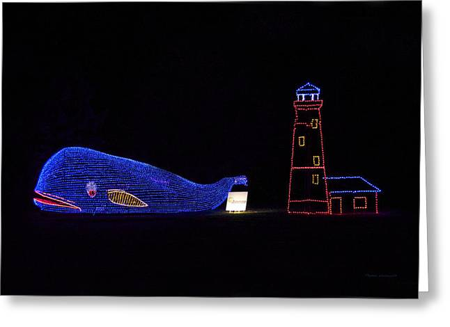 Rope Light Art Whale And Light House Greeting Card by Thomas Woolworth
