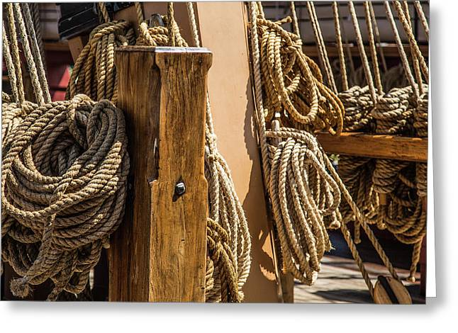 Ropes Aboard A Tall Ship Greeting Card