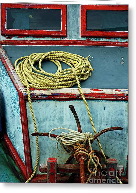 Ropes And Rusty Anchors On A Boat Deck Greeting Card by Sami Sarkis