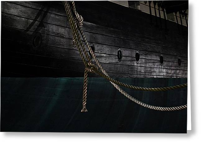 Ropes On The Uss Constellation Navy Ship Greeting Card by Marianna Mills