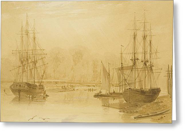 Ropewalk At Wapping, West Indiaman Union On Left, 1826  Greeting Card by Thomas Leeson the Elder Rowbotham