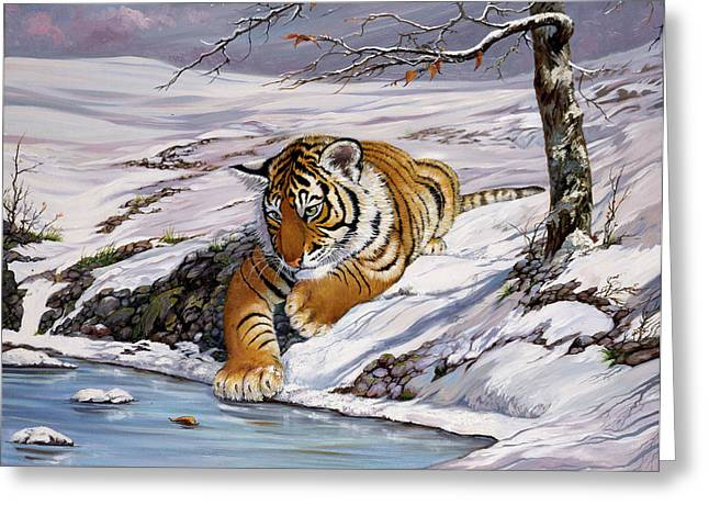 Roque Playing In The Ice Pond Greeting Card by Silvia  Duran