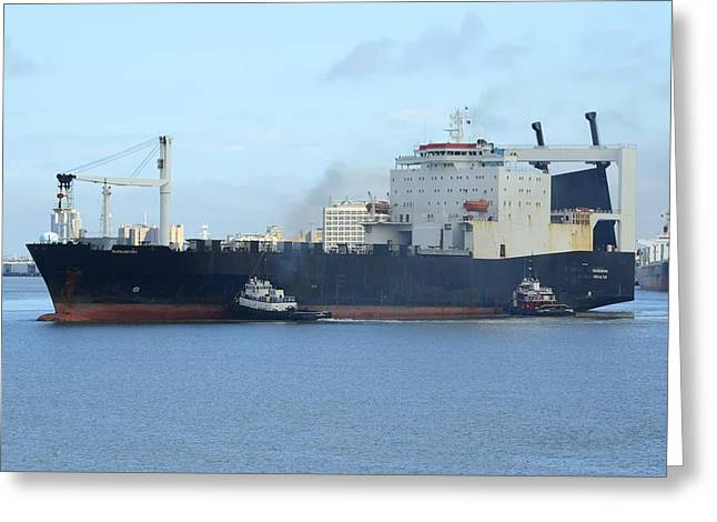 Greeting Card featuring the photograph Roro Cargo Ship And Tugboats. by Bradford Martin