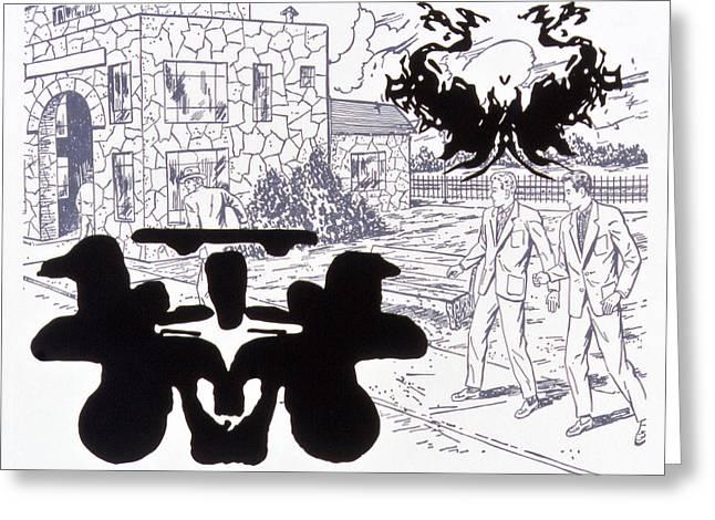 Rorschach 3 Angel Of Death Greeting Card by Karl Frey