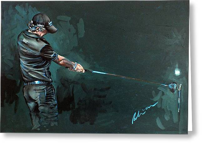 Rory Mcilroy Trick Shot 2010 Greeting Card by Mark Robinson