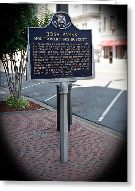 Rosa Parks Arrest Memorial Greeting Card by Arnold Hence