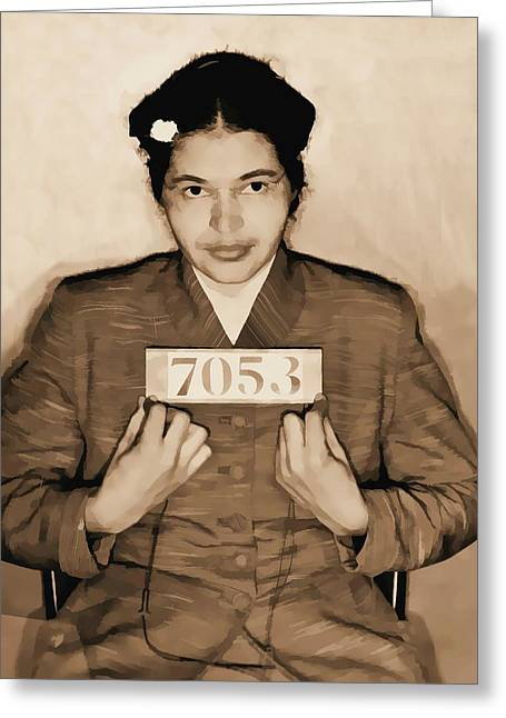 Rosa Parks Mugshot Greeting Card by Dan Sproul