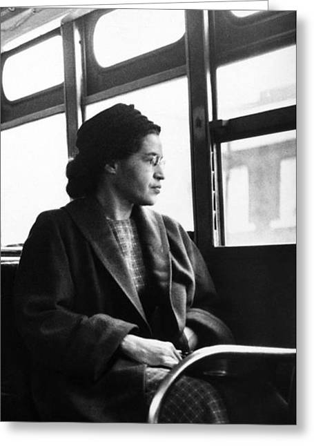Rosa Parks Sitting On A Bus In Montgomery, Alabama Greeting Card