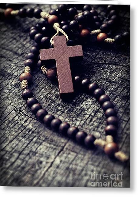 Rosary Greeting Card by Mythja Photography