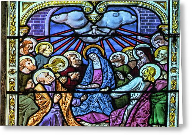 Rosary Window - Third Glorious Mystery - The Descent Of The Holy Spirit Greeting Card by Curt Rush