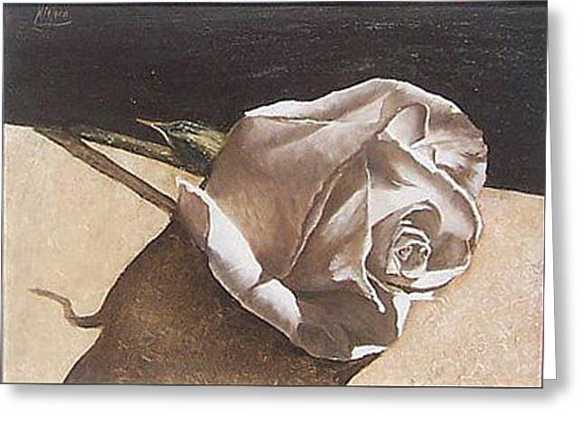 Greeting Card featuring the painting Rose 1 by Natalia Tejera