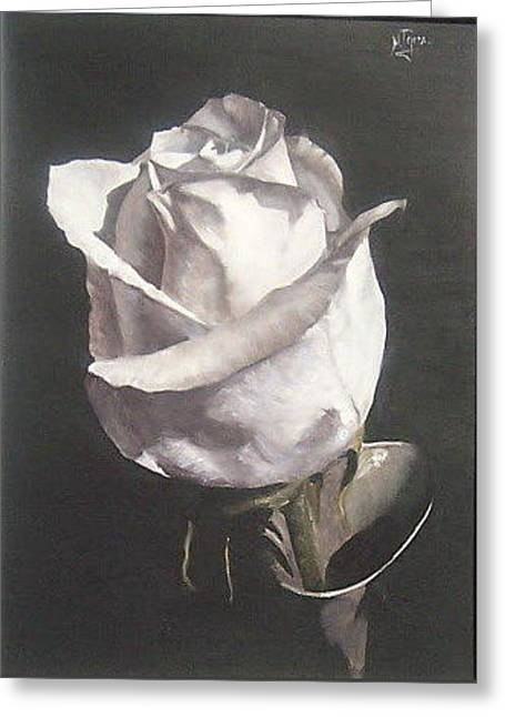 Greeting Card featuring the painting Rose 2 by Natalia Tejera