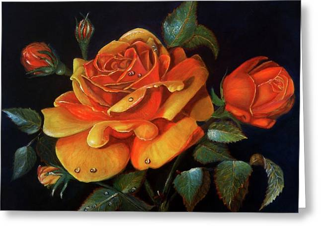 Rose Acrylic Painting Greeting Card by MadhuRavi Paintings