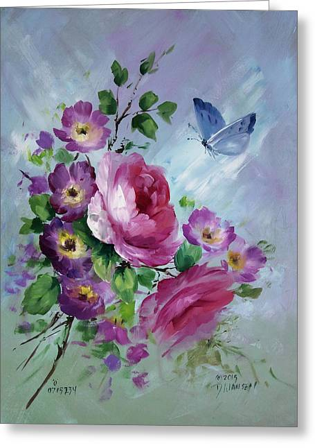 Rose And Butterfly Greeting Card by David Jansen