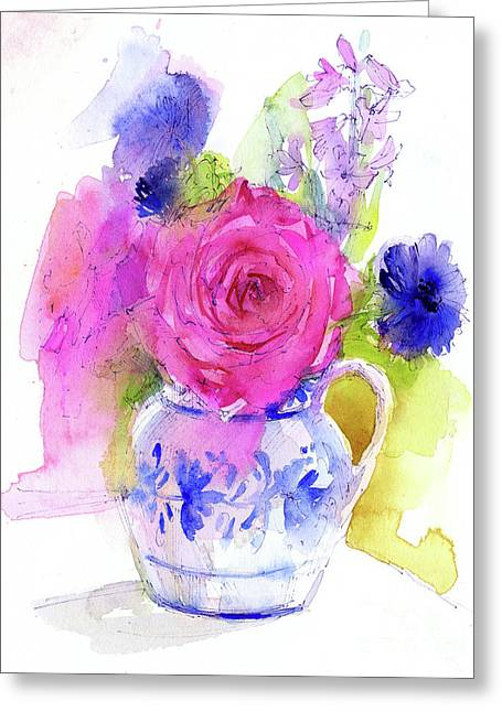 Rose And Cornflowers In Pitcher Greeting Card