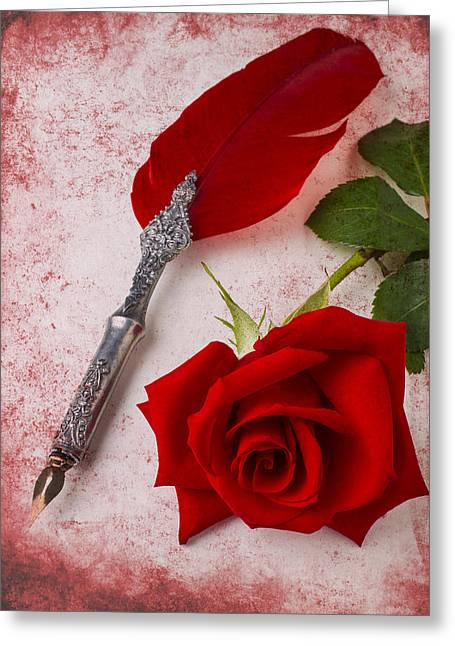Rose And Feather Pen Greeting Card by Garry Gay