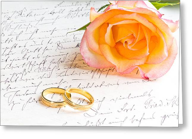 Alliance Greeting Cards - Rose and two rings over handwritten letter Greeting Card by Ulrich Schade