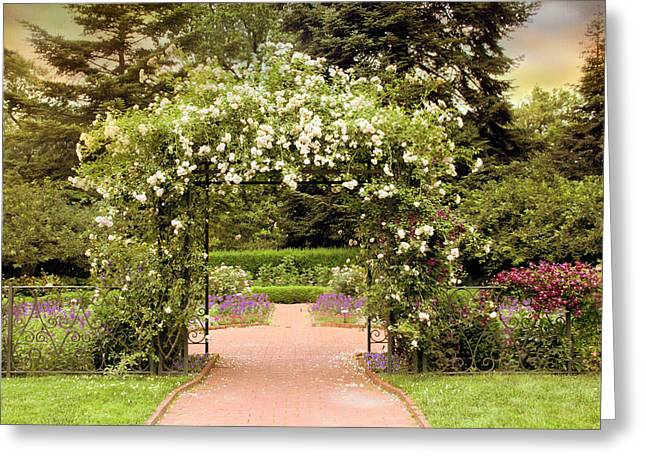 Rose Arbor Greeting Card by Jessica Jenney